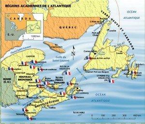 acadiecarte-300x256 Acadie - Histoire - déportation - nettoyage ethnique dans Conflits