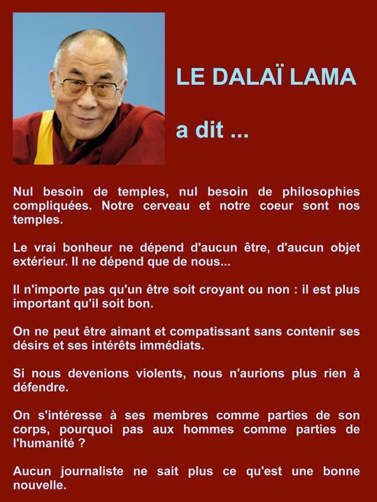 Dalaï LAMA… ci at Je me SOUVIENS…